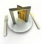Open doorway to improve your cooking skills render — Stock Photo