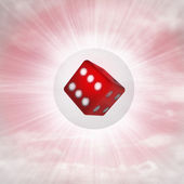 Lucky red cube in glossy bubble in the air with flare — Stock Photo