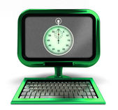 Green metallic computer with stopwatch on screen concept isolated — Stockfoto