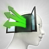 Green idea arrows coming out of human head thinking concept — Stock Photo