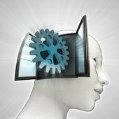Industriële tandrad deel afkomstig is uit of in menselijk hoofd via venster concept — Stockfoto