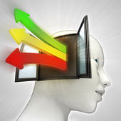 Three colored way arrows coming out of human head through window as knowledge concept — Stock Photo