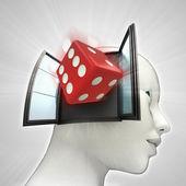 Geluksdobbelstenen afkomstig is uit of in menselijk hoofd via venster concept — Stockfoto