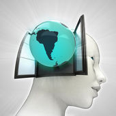 Zuid-amerika wereld afkomstig is uit of in menselijk hoofd via venster concept — Stockfoto