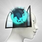 Azië wereld afkomstig is uit of in menselijk hoofd via venster concept — Stockfoto