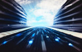 Blue futuristic city street with binary code road wallpaper — Stock Photo