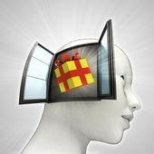 Cadeau verrassing komen uit of in menselijk hoofd via venster concept — Stockfoto