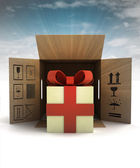 Holiday gift surprise safety delivery with sky flare — Stock Photo