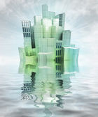 Futuristic city island with water reflections and sky render — Zdjęcie stockowe