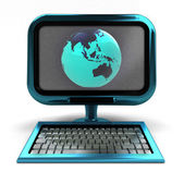 Blue metallic computer with Asia globe on screen isolated — Stock Photo