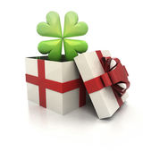 Mysterious magic gift with green lucky cloverleaf render — Stock Photo