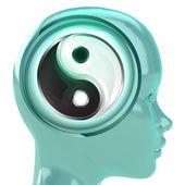 Azul cabeza humana con nube de cerebro con la armonía de yin yang dentro — Foto de Stock