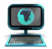 Blue metallic computer with Africa globe on screen isolated — Stock Photo