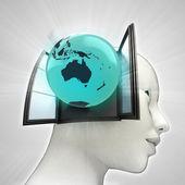 Australië wereld afkomstig is uit of in menselijk hoofd via venster concept — Stockfoto