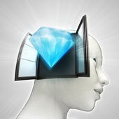 Diamond luxury coming out or in human head through window concept — Stockfoto