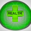 Stock Vector: Green matrix cell with health in middle vector