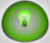 Green matrix cell with bulb in the middle vector — Vector de stock