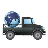 Isolated pick up car transportation in african countries vector drawing — Vector de stock