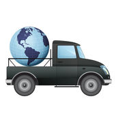Isolated pick up car transportation in american countries vector drawing — Stok Vektör