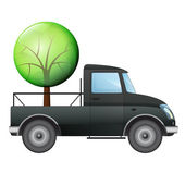 Isolated pick up car with tree delivery vector drawing — Stock Vector