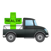Isolated pick up car with health care delivery vector drawing — Vettoriale Stock