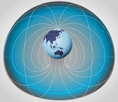 Blue matrix cell with Asia globe in the middle vector — Vetorial Stock
