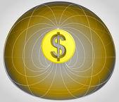 Célula matriz dorada con moneda del dólar en el vector de medio — Vector de stock