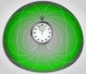 Groene matrix cel met stopwatch in de middelste vector — Stockvector