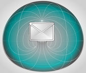 Blue matrix cell with email info in the middle vector — Vettoriale Stock