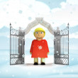 Xmas gate entrance with happy woman in winter snowfall — Stock Photo