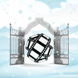 Xmas gate entrance with new movie in winter snowfall — Stock Photo #35937133