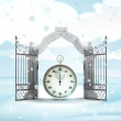 Stock Photo: Xmas gate entrance with time counter in winter snowfall