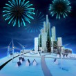 Pyrotechnics above modern windmill powered cityscape — Stock Photo