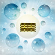 Stock Photo: Magic closed chest in bubble at winter snowfall