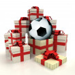 Isolated group of christmas gift boxes with soccer ball revelation — Stock Photo