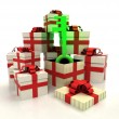 Isolated group of christmas gift boxes with green key revelation — Stock Photo