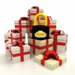 Isolated group of christmas gift boxes with security padlock revelation — Stock Photo