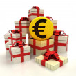 Isolated group of christmas gift boxes with golden Euro coin revelation — Stock Photo