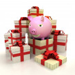 Isolated group of christmas gift boxes with happy pig revelation — Stock Photo