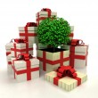 Isolated group of christmas gift boxes with leafy tree revelation — Stock fotografie