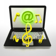 Internet surfing and search info and good music — Stock Photo
