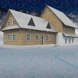 Seasonal mountain cottage at night snowfall — Foto de Stock