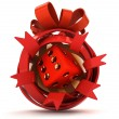 Opened red ribbon gift sphere with red lucky dice inside — Stock Photo