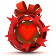 Opened red ribbon gift sphere with red hearth inside — Foto Stock