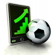 Increasing graph stats of football  business on smart phone display — Stock Photo