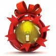 Opened red ribbon gift sphere with yellow shiny bulb inside — Stock Photo