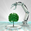 Robotic hand creation of new kind of tree render — Stock Photo