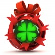 Opened red ribbon gift sphere with green cloverleaf inside — Stock Photo #35937979