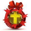 Opened red ribbon gift sphere with golden cross inside — Stock Photo