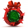 Opened red ribbon gift sphere with green leafy tree inside — Stock Photo